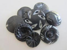 Vintage Buttons  8 large novelty black buttons by pillowtalkswf
