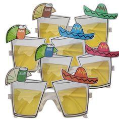Mexico bril met tequila glazen voor volwassenen. Feestelijke bril met op de glazen tequila glaasjes en een Mexicaanse hoed. 1 bril.