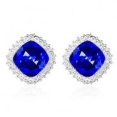 Charming Square Austrian Crystal Platinum Plating Alloy Ear Studs - Sapphire