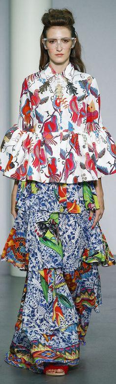 Stella Jean S-16 RTW: ruffled blouse & maxi skirt.