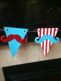 HANDMADE moustache pennant banner FATHER'S DAY little man First Birthday baby shower graduation Red and Aqua. $21.00, via Etsy.