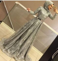 Long Sleeve Party Dresses With Hijab Muslim Prom Dress, Hijab Prom Dress, Hijab Evening Dress, Muslim Wedding Dresses, Evening Gowns, Dress Outfits, Fashion Dresses, Gown With Hijab, Hijabi Gowns
