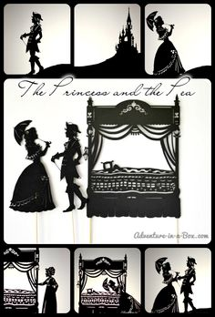 Princess and the Pea Shadow Puppet Theatre with free printable characters and scenery part of the Classic Tales week of Story Book Summer. Paper Puppets, Paper Toys, Paper Crafts, Creative Activities For Kids, Creative Kids, Puppet Show, Puppet Theatre, Shadow Theatre, Andersen's Fairy Tales
