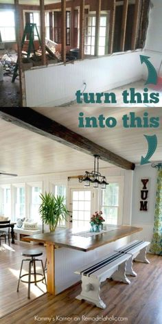 DIY Built in Breakfast Bar or dining table. This dining area makeover is a great way to add extra seating. Need a breakfast bar area like this, cut down a wall into a half wall and add a tabletop. House Design, House, Home Projects, Home, Remodel, Home Remodeling, Home Renovation, Bar Dining Table, Remodeling Mobile Homes