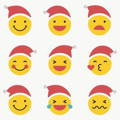 Santa emoticon set isolated on transparent vector | premium image by rawpixel.com / wan Merry Christmas Sign, Christmas Hat, Christmas Stickers, Christmas And New Year, Christmas Icons, Phone Stickers, Cute Stickers, Beige Background, Background Patterns