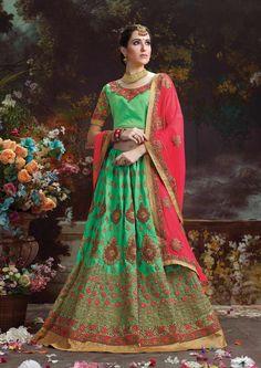 Green indian wear silk lehgna choli with red contrast dupatta