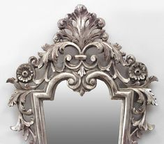 Italian Rococo style (19/20th Cent) silver gilt carved and filigree vertical shaped wall mirrors with scroll design (PRICED EACH)
