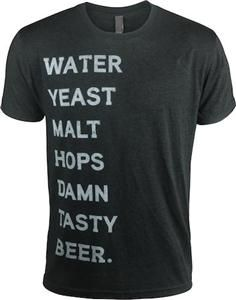 Our latest employee designed T-Shirt lists brewery ingredients. Damn Tasty Beer.