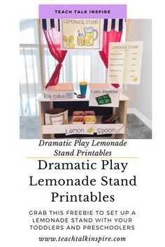 Lemonade Stand Dramatic Play Set Up- Lemonade Stand Dramatic Play Set Up Use these FREE printables to set up a dramatic play lemonade stand.  Set up your own dramatic play lemonade stand for your children. Preschool Prep, Toddler Preschool, Preschool Activities, Dramatic Play Centers, Play Centre, Learning Through Play, Hands On Activities, Childhood Education, Lemonade