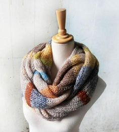 Stripe knit scarves.