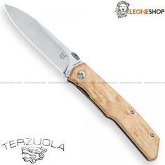 """FOX KNIVES TERZUOLA Pocket Knife FX-525BE, edc pocket folding knives with blade of N690Co Cobalt Vanadium stainless steel of high quality Satin finished - HRC 58/60 - Blade lenght 3.5"""" - Thickness 0.12"""" - Handle made with two steel liners and Birch inserts, a light and flexible wood of ivory yellow color coming from North Europe - Liner Lock system - Overall lenght 7.9"""" - Design by Robert Terzuola - FOX KNIVES folding edc knife really exceptional with quality materials and an excellent…"""