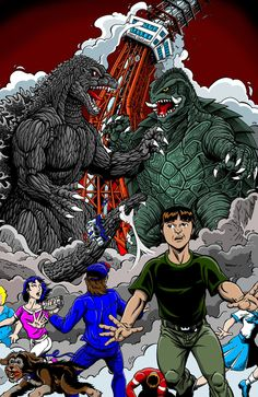 Godzilla vs Gamera commission by ~kaijuverse