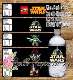 Star wars lego printables for water bottles.
