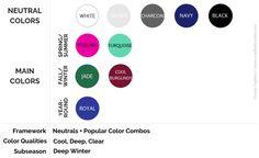 Cool Winter Color Palette, Deep Winter Colors, Simple Style, My Style, Charcoal Color, Color Combos, Stitch Fix, Color Palettes, How To Plan