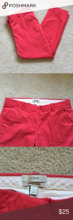 J crew dark pink capris Dark pink size 4 capris. 98% cotton 2% spandex J. Crew Pants Capris
