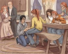 I love the detail to this art. Molly and Arthur in the background, Harry's face, but also Ron, Hermione and Bill. I just love it too much