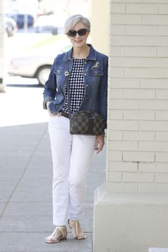 Love the mixed prints and jean jacket