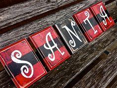 SANTA Belt Christmas Decor Wood Blocks Santa Clause by ArtSortof