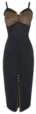 Lindy Bop 'Elmira' Stunning Black Vintage Rockabilly Style Fitted Wiggle Dress