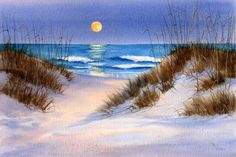 Items similar to Lady Moon depicts the moon rising over Wrightsville Beach on a summer evening- Moon Watercolor Painting on Etsy Watercolor Ocean, Watercolor Landscape, Landscape Paintings, Space Painting, Painting & Drawing, Watercolor Paintings, Ocean Paintings, Moon Painting, Local Art Galleries