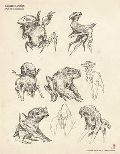 Creature Thumbnails by artist Mike Corriero www.MikeCorriero.com - https://www.facebook.com/Creature.Artist