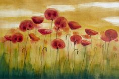 water color paintings, flowers | Red Poppies Red Flower Watercolor Painting, Field of Poppies, Original ...