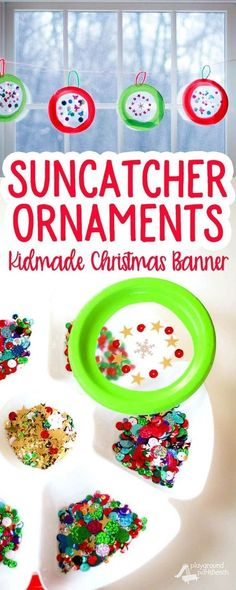Let your kids help create their own Christmas decor with this simple Suncatcher Christmas Ornament Christmas Banner. A great craft for kids of all ages, from toddlers to teens. Make as many as you want and string them up in front of your windows to capture the fleeting winter light!   Kids Crafts   Christmas Craft   Holiday Decor   DIY  