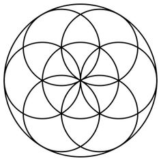 """""""Seed of Life"""" is formed from seven circles being placed with sixfold symmetry, forming a pattern of circles and lenses, which act as a basic component of the Flower of Life's design. The Seed of Life is a symbol depicting the seven days of creation. Coloring Books, Coloring Pages, Colouring, Adult Coloring, Circle Symbol, Circle Art, Inner Circle, Days Of Creation, Seed Of Life"""