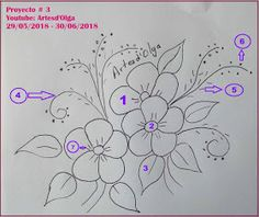 Artesd'Olga: Proyecto Diseño Floral - Whirl Tutorial and Ideas Border Embroidery Designs, Floral Embroidery Patterns, Mexican Embroidery, Hand Embroidery Tutorial, Embroidery Flowers Pattern, Embroidery Transfers, Free Machine Embroidery Designs, Ribbon Embroidery, Embroidery Stitches