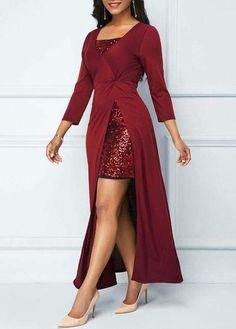 Sequin Embellished Wine Red Dress and Side Slit Dress Tight Dresses, Casual Dresses, Fashion Dresses, Dresses Dresses, Junior Bride Dresses, Wine Red Dress, Shoes With Red Dress, Red Wine, Lace Up Bodycon Dress