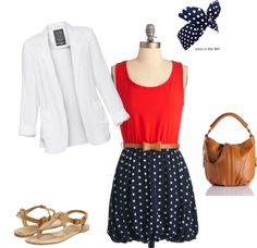 Patriotic fourth of July outfit! Change the blazer to a cardigan :)
