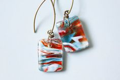 Hot & Cold Glass Earrings summer jewelry glass design by adairya2, $12.00