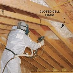 Cathedral Ceiling Insulation Solve moisture and rot problems in insulated cathedral ceilings with closed-cell foam insulation. Attic Playroom, Attic Rooms, Attic Spaces, Attic Bathroom, Garage Attic, Attic Library, Attic Office, Attic Closet, Upstairs Bedroom