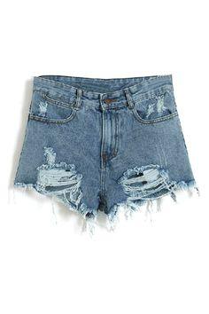 ROMWE | Distressed High-waisted Denim Shorts