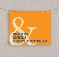 Baby Boy Nursery Art Print - Orange Decor, Snakes & Snails and Puppy Dog Tails - 8x10. $15.00, via Etsy.