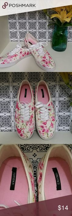 Floral canvas sneakers NWOT NWOT. Just purchased on posh. They were posted as a size 8 bit they are more like 8.5. Never worn and super adorable! Forever 21 brand . Vans Shoes Sneakers