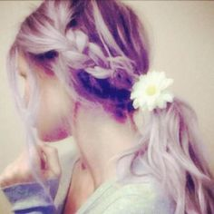 #braid #flower #ponytail