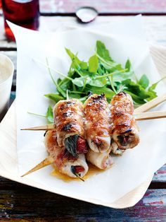 Perfect easy BBQ recipe for when friends come over to bring interest to the meal!   Thanks Donna Hay  chicken saltimbocca skewers with white bean puree