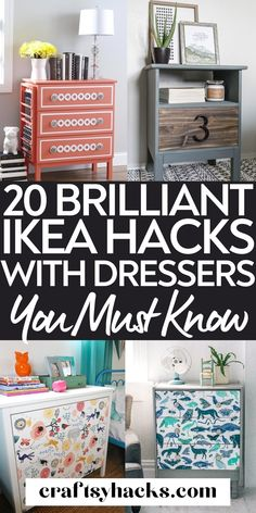 You can easily transform your plain old IKEA dresser with these incredible IKEA dresser hacks to create stunning bedroom furniture. Try these amazing DIY IKEA hacks for dressers and enjoy saving more money on your bedroom decor. #IKEA #DIY Ikea Furniture, Furniture Makeover, Painted Furniture, Bedroom Furniture, Bedroom Decor, Ikea Hack Bedroom, Ikea Dresser Hack, Retro Renovation, Custom Paint Jobs