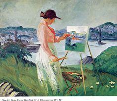 John French Sloan - Helen Taylor Sketching, 1916
