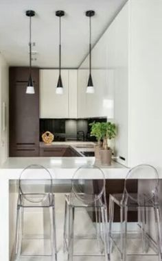 Barra de cocina (las sillas pueden ser transparentes para no añadirle peso al ambiente)