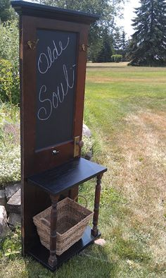 Chalkboard Door Hall Tree with Shelf by OldeSoulFurniture on Etsy, $200.00
