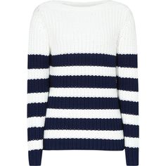 This Reiss sweater shows a classic black and white stripe motif in a structured, chunky knit and pattern suited to the #modernchic style #brunch #weekend