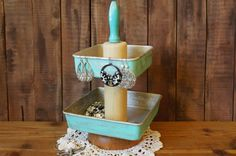 Upcycled Turquoise Wood Rolling Pin Tiered Jewelry Stand Holder - Country Kitchen Organizer Decor - Repurposed Housewares Rolling Pin Caddy