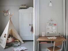 teepee - children's teepee - vintage wardrobe - vintage child's desk - marble fireplace - child's four-poster bed - grey carpet - grey bedroom - dolls house - floral wallpaper - nina campbell wallpaper - girl's bedroom - child's room - interior design for children - handmade dolly - floating shelving -   pretty child's room - kids' room design - little girl's bedroom - taupe wallpaper - grey wallpaper - period fireplace - go to your room