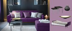 KARLABY/KARLSKOGA three-seat sofa-bed with Sivik dark lilac cover and KIVIK footstool with Dansbo lilac cover