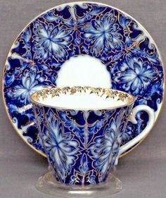 Lomonosov Russian Porcelain Black Grouses Teacup and Saucer