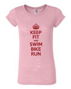 Keep Fit & Swim Bike Run Burnout Triathlon T-Shirt
