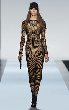 Herve Leger Fall 2013 Runway: Giana Scroll Jacquard Studded Dress. Get the look at www.herveleger.com/. #herveleger #fall2013 #runway #collection #NYFW