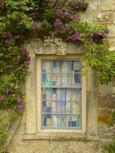 patchwork curtain in the window, exterior view | architectural details